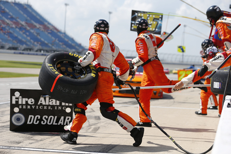 June 30, 2018 - Joliet, Illinois, USA: Kyle Larson (42) makes a pit stop for the Overton's 300 at Chicagoland Speedway in Joliet, Illinois.