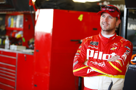 June 29, 2018 - Joliet, Illinois, USA: Michael Annett (5) hangs out in the garage during practice for the Overtons 300 at Chicagoland Speedway in Joliet, Illinois.
