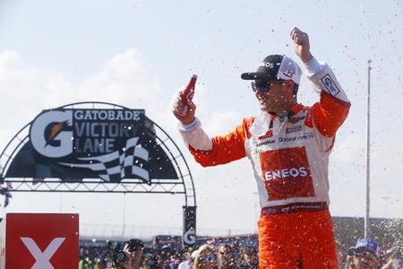 June 30, 2018 - Joliet, Illinois, USA: Kyle Larson (42) wins the Overton's 300 at Chicagoland Speedway in Joliet, Illinois. 報道画像