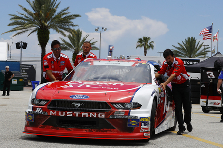 July 05, 2018 - Daytona Beach, Florida, USA: The car of Ryan Reed (16) is pushed in the garage before practice for the Coca-Cola Firecracker 250 at Daytona International Speedway in Daytona Beach, Florida. Editorial
