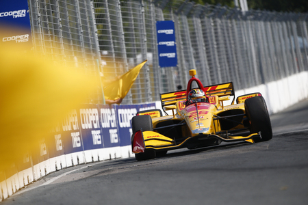July 15, 2018 - Toronto, Ontario, CA: RYAN HUNTER-REAY (28) of the United States battles for position during the Honda Indy Toronto at Streets of Toronto in Toronto, Ontario.