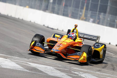 July 13, 2018 - Toronto, Ontario, CA: ZACH VEACH (26) of the United Stated takes to the track to practice for the Honda Indy Toronto at Streets of Exhibition Place in Toronto, Ontario. Editorial