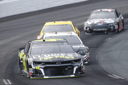 July 22, 2018 - Loudon, New Hampshire, USA: Jimmie Johnson (48) battles for position during the Foxwoods Resort Casino 301 at New Hampshire Motor Speedway in Loudon, New Hampshire.