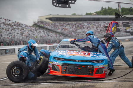 July 22, 2018 - Loudon, New Hampshire, USA: Darrell Wallace, Jr (43) makes a pit stop during the Foxwoods Resort Casino 301 at New Hampshire Motor Speedway in Loudon, New Hampshire. Editorial
