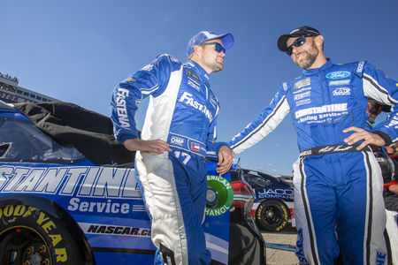 July 20, 2018 - Loudon, New Hampshire, USA: Matt Kenseth (6) and Ricky Stenhouse, Jr (17) chat before qualifying for the Foxwoods Resort Casino 301 at New Hampshire Motor Speedway in Loudon, New Hampshire. Redakční