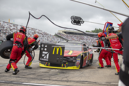July 22, 2018 - Loudon, New Hampshire, USA: Jamie McMurray (1) makes a pit stop during the Foxwoods Resort Casino 301 at New Hampshire Motor Speedway in Loudon, New Hampshire.