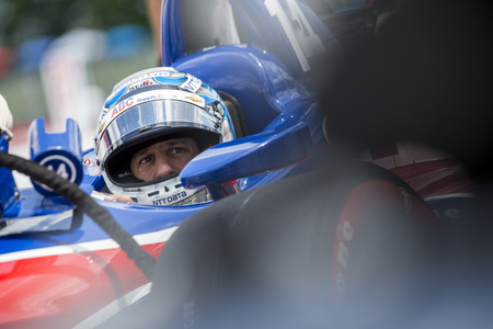 July 28, 2018 - Lexington, Ohio, USA: TONY KANAAN (14) of Brazil hangs out on pit road prior to qualifying for the Honda Indy 200 at Mid-Ohio Sports Car Course in Lexington, Ohio. Editorial