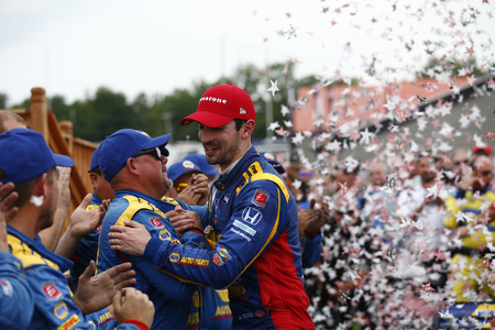 July 29, 2018 - Lexington, Ohio, USA: ALEXANDER ROSSI (27) of the United States wins the Honda Indy 200 at Mid-Ohio Sports Car Course in Lexington, Ohio.