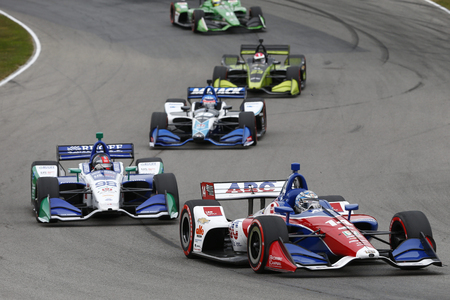 July 29, 2018 - Lexington, Ohio, USA: TONY KANAAN (14) of Brazil battles for position during the Honda Indy 200 at Mid-Ohio Sports Car Course in Lexington, Ohio.