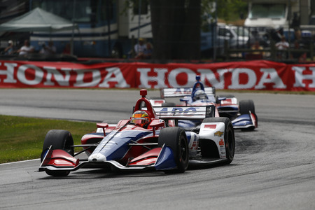 July 29, 2018 - Lexington, Ohio, USA: MATHEUS LEIST (4) of Brazil battles for position during the Honda Indy 200 at Mid-Ohio Sports Car Course in Lexington, Ohio.