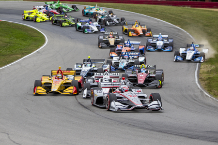 July 29, 2018 - Lexington, Ohio, USA: WILL POWER (12) of Australia battles for position during the Honda Indy 200 at Mid-Ohio Sports Car Course in Lexington, Ohio.