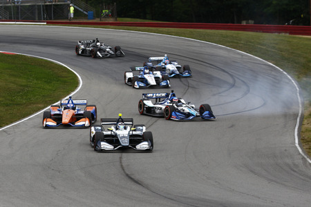 July 29, 2018 - Lexington, Ohio, USA: SCOTT DIXON (9) of New Zealand battles for position during the Honda Indy 200 at Mid-Ohio Sports Car Course in Lexington, Ohio.