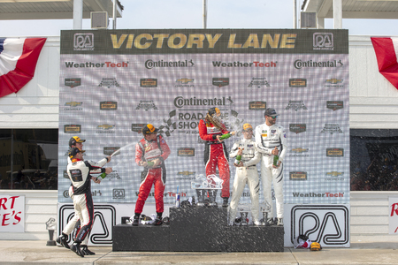 August 05, 2018 - Elkhart Lake, WI, USA: The IMSA WeatherTech SportsCar Championship series celebrate podium for The Continental Tire Road Race Showcase at Road America in Elkhart Lake, WI. Editorial