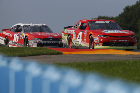 August 04, 2018 - Watkins Glen, New York, USA: Ross Chastain (4) brings his car through the bus stop chicane during the Zippo 200 at Watkins Glen International in Watkins Glen, New York.