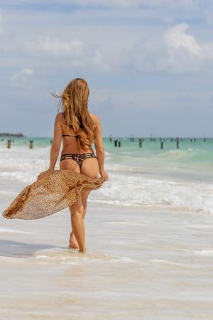Sexy sandy woman buttocks on a Caribbean beach 免版税图像