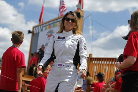 August 11, 2018 - Lexington, Ohio, USA: Katherine Legge (15) gets introduced for the Rock N Roll Tequila 170 at Mid-Ohio Sports Car Course in Lexington, Ohio.
