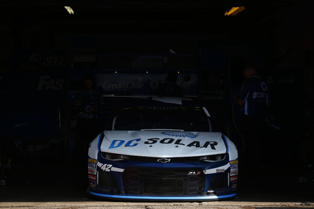 August 11, 2018 - Brooklyn, Michigan, USA: The car of Kyle Larson (42) sits in the garage before practice for the Consumers Energy 400 at Michigan International Speedway in Brooklyn, Michigan. Editorial