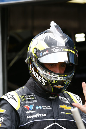 August 10, 2018 - Brooklyn, Michigan, USA: Jimmie Johnson (48) hangs out in the garage during practice for the Consumers Energy 400 at Michigan International Speedway in Brooklyn, Michigan.