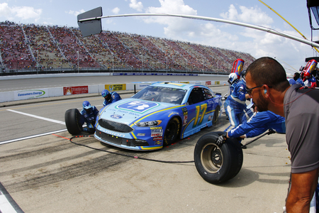 August 12, 2018 - Brooklyn, Michigan, USA: Ricky Stenhouse, Jr (17) brings his car down pit road for service during the Consumers Energy 400 at Michigan International Speedway in Brooklyn, Michigan.