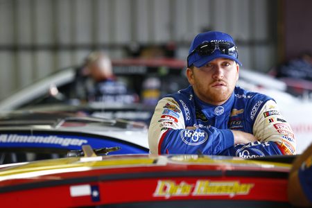 August 11, 2018 - Brooklyn, Michigan, USA: Chris Buescher (37) hangs out in the garage prior to practice for the Consumers Energy 400 at Michigan International Speedway in Brooklyn, Michigan.