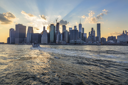View of New York City overlooking the East River from Brooklyn Bridge Park Editorial