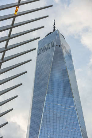 Views of the World Trade Center and Freedom Tower in downtown New York City Редакционное