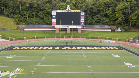 """September 02, 2018 - Boone, North Carolina, USA: Kidd Brewer Stadium is a 30,000-seat multi-purpose stadium located in Boone, North Carolina. Nicknamed """"The Rock"""", the stadium is the home of the Appalachian State Mountaineers football team. Editorial"""