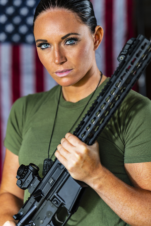A female military Marine posing in a military uniform Stock Photo