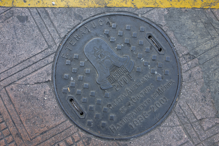 Manhole cover in the city of Merida, Yucatan