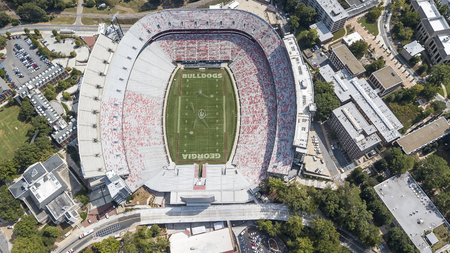 October 03, 2018 - Athens, Georgia, USA: Aerial views of Sanford Stadium, which is the on-campus playing venue for football at the University of Georgia in Athens, Georgia, United States. The 92,746-seat stadium is the tenth-largest stadium in the NCAA.
