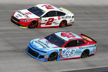 October 07, 2018 - Dover, Delaware, USA: Darrell Wallace, Jr (43) and Brad Keselowski (2) battle for position during the Gander Outdoors 400 at Dover International Speedway in Dover, Delaware. Editorial