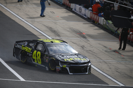 October 07, 2018 - Dover, Delaware, USA: Jimmie Johnson (48) goes to the garage with mechanical issues prior to the green flag for the Gander Outdoors 400 at Dover International Speedway in Dover, Delaware.
