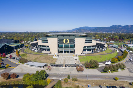 October 11, 2018 - Eugene, Oregon, USA: Autzen Stadium is an outdoor football stadium in the northwest United States, in Eugene, Oregon. Located north of the University of Oregon campus, it is the home field of the Oregon Ducks of the Pac-12 Conference. O Editorial