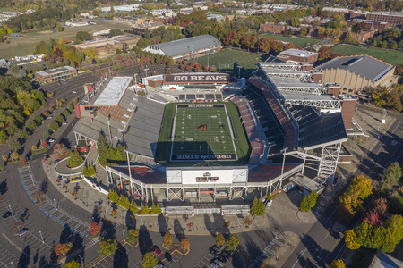 October 14, 2018 - Corvallis, Oregon, USA: Reser Stadium is an outdoor athletic stadium in the northwest United States, on the campus of Oregon State University in Corvallis, Oregon. It is the home of the Oregon State Beavers of the Pac-12 Conference.