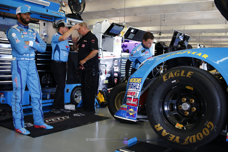 November 02, 2018 - Ft. Worth, Texas, USA: Darrell Wallace, Jr (43) hangs out in the garage during practice for the AAA Texas 500 at Texas Motor Speedway in Ft. Worth, Texas. Editorial