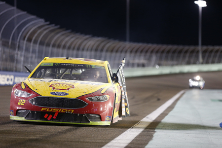 November 18, 2018 - Homestead, Florida, USA: Joey Logano (22) celebrates after winning the Monster Energy NASCAR Cup Series Championship after winning the Ford 400 at Homestead-Miami Speedway in Homestead, Florida. Redakční
