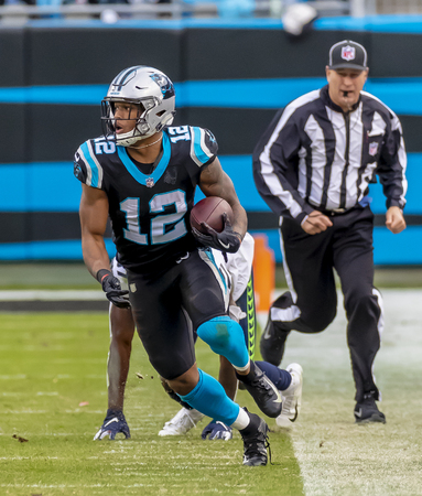 November 25, 2018 - DJ MOORE (12) plays against the visiting Seattle Seahawks at Bank Of America Stadium in Charlotte, NC.  The Panthers lose to the Seahawks, 30-27.   報道画像