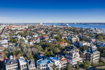 Aerial views of the city of Charleston, South Carolina Stock Photo