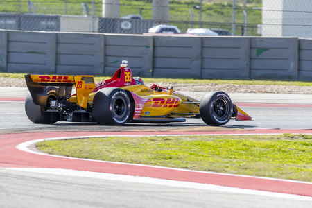 RYAN HUNTER-REAY (28) of the United States goes through the turns during practice for the IndyCar Spring Test at Circuit Of The Americas in Austin, Texas.