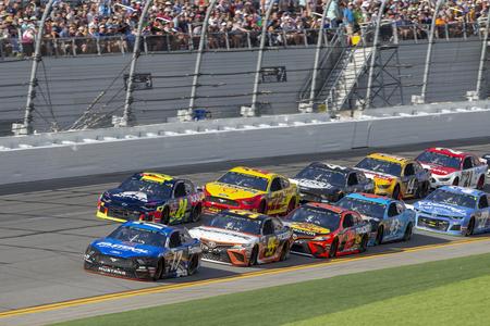 February 17, 2019 - Daytona Beach, Florida, USA: {persons} races through the pits at the NASCAR Racing Experience 300 at Daytona International Speedway in Daytona Beach, Florida.