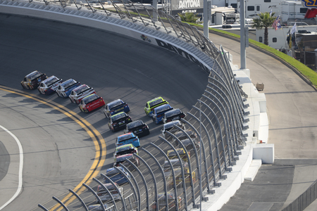 February 17, 2019 - Daytona Beach, Florida, USA: Kyle Busch (18) races down the front stretch during the Daytona 500 at Daytona International Speedway in Daytona Beach, Florida.