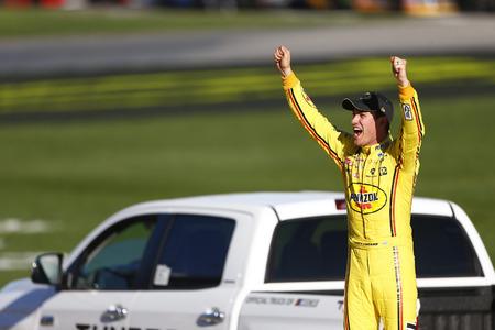 March 03, 2019 - Las Vegas, Nevada, USA: Joey Logano (22) wins the Pennzoil 400 at Las Vegas Motor Speedway in Las Vegas, Nevada.