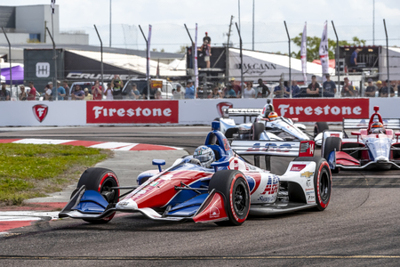 March 10, 2019 - St. Petersburg, Florida, USA: TONY KANAAN (14) of Brazil brings his car through the race course during the Firestone Grand Prix of St. Petersburg at The Temporary Waterfront Street Course in St. Petersburg Florida. Redakční