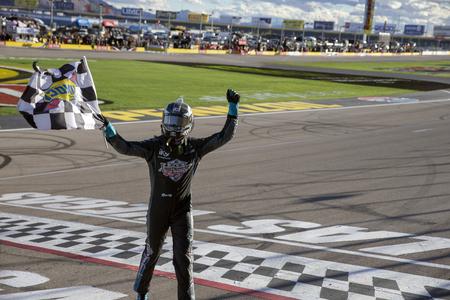 March 02, 2019 - Las Vegas, Nevada, USA: Kyle Busch (18) celebrates his win at the Boyd Gaming 300 at Las Vegas Motor Speedway in Las Vegas, Nevada. Sajtókép