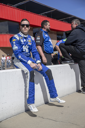 March 15, 2019 - Fontana, California, USA:  Alex Bowman (88) takes to the track to qualify for the Auto Club 400 at Auto Club Speedway in Fontana, California.