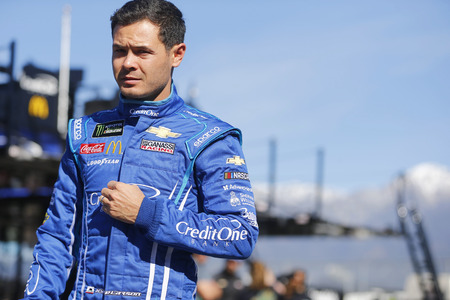 March 15, 2019 - Fontana, California, USA: Kyle Larson (42) gets ready to practice for the Auto Club 400 at Auto Club Speedway in Fontana, California.