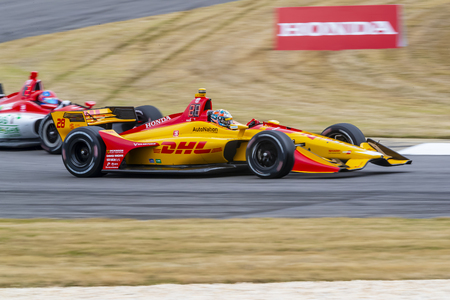 RYAN HUNTER-REAY (28) of the United States goes through the turns during practice for the Honda Indy Grand Prix of Alabama at Barber Motorsports Park in Birmingham, Alabama.