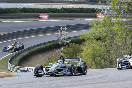 April 06, 2019 - Birmingham, Alabama, USA: JOSEF NEWGARDEN (2) of the United States goes through the turns during practice for the Honda Indy Grand Prix of Alabama at Barber Motorsports Park in Birmingham, Alabama. Editorial