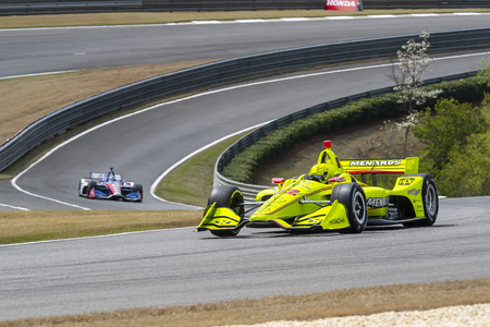 April 06, 2019 - Birmingham, Alabama, USA: SIMON PAGENAUD (22) of France goes through the turns during practice for the Honda Indy Grand Prix of Alabama at Barber Motorsports Park in Birmingham, Alabama.