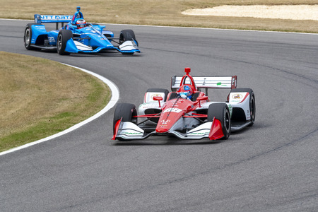 April 06, 2019 - Birmingham, Alabama, USA: COLTON HERTA (R) (88) of The United States goes through the turns during practice for the Honda Indy Grand Prix of Alabama at Barber Motorsports Park in Birmingham, Alabama.